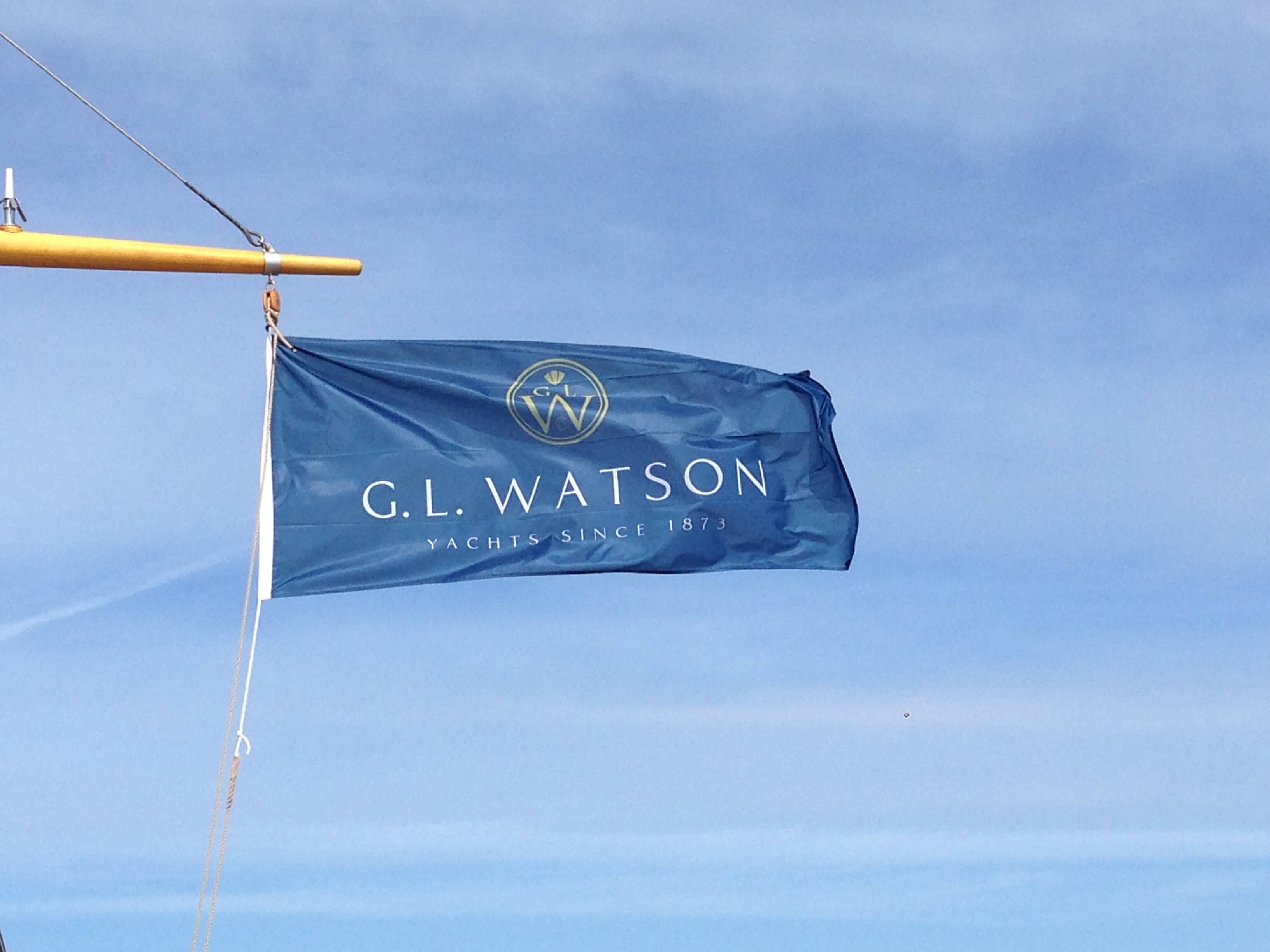G.L. Watson Flag flies on a yacht where we provided Owner Representation.